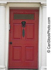 Front door - Grand and solid looking red front door.