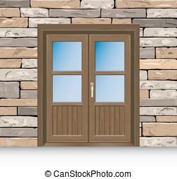 Open front door Open entrance door the symbol of the open clip