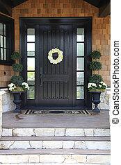 Front door of a luxurious home.