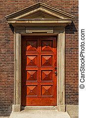 Front door of traditional home.