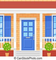 Front door, porch house. Vector illustration in flat design.