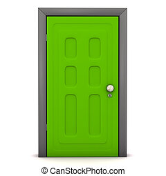 open front door illustration. front door green on the white background open illustration o