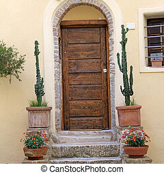 front door with cacti , Tuscany, Italy, Europe