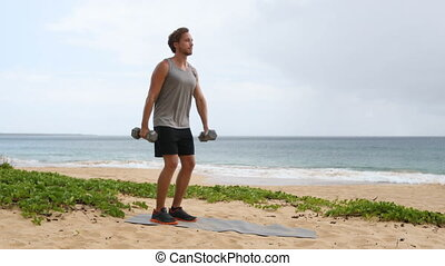 Front Dumbbell Raise exercise - Fitness man lifting ...