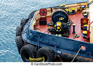 Front End of Colorful Tugboat