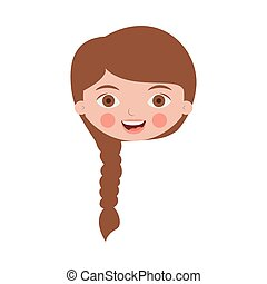 front face cute girl with braided hair