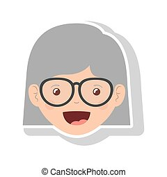 front face elderly woman short hair with glasses