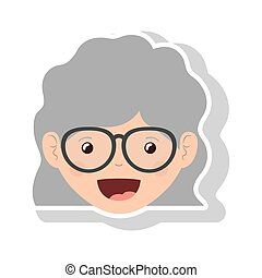 front face elderly woman wavy hair with glasses