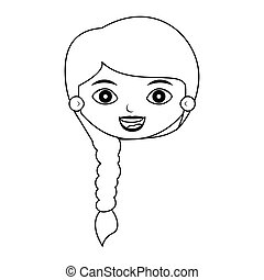 front face girl silhouette with braided hair