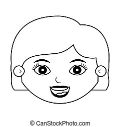 front face girl silhouette with hair short