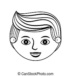 front face man silhouette with hairstyle