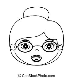 front face woman silhouette with glasses