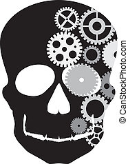 Front Facing Skull Silhouette with Mechanical Gears Illustration Isolated on White Background