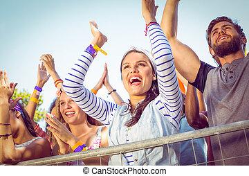 front, fans , musik, auf, aufgeregt