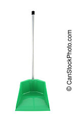 Front green plastic dustpan on white background.