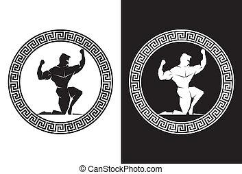 front, griechischer , herkules, schlüssel, ansicht