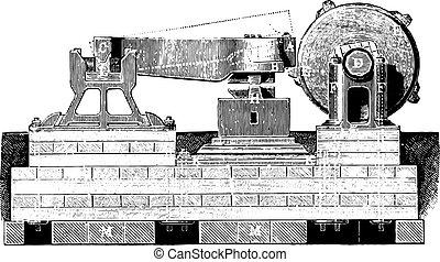 Front hammer, vintage engraving.