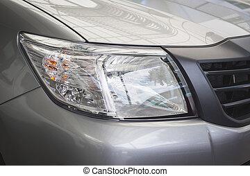 front, licht, von, neues auto