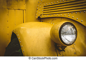 Front lights of school bus