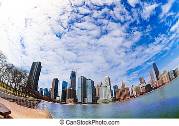 front mer, michigan, parc, lac, chicago
