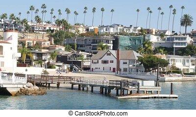 front mer, propriété, port, propriété, week-end, prime, los, usa., côte, plage, luxe, maisons, pacifique, maisons, angeles., suburbain, océan, riche, front mer, californie, loyer, beachfront, vacances, vrai, newport
