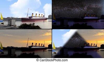 front mer, tout, bateaux, temps