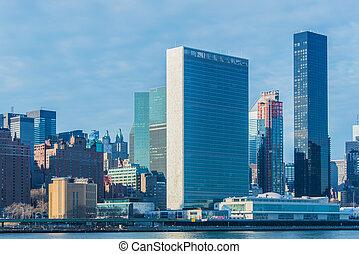 front mer, vue, de, new york