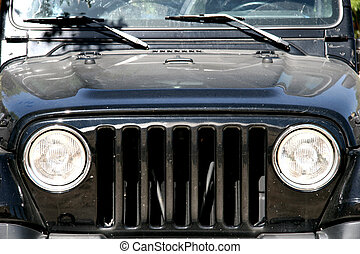Front of a Black Jeep  - Famous Car - Jeep Wrangler