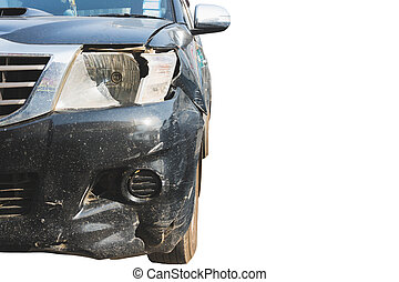 Front of black car get damaged by car crashed accident on the road