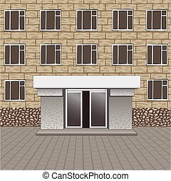 Front of building, entrance with empty signboard for your name, pavement