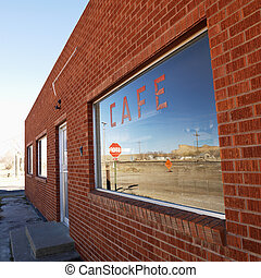 Front of cafe.