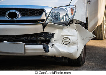 Front of car get damaged by accident