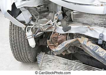 Front of car get damaged by accident on the road. Car crash accident on street, damaged automobiles after collision .