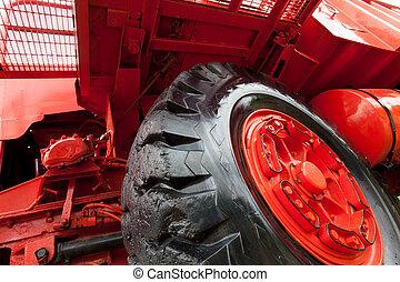 Front wheel of vinatge giant mining truck.