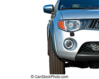 closeup photo front of modern half car with headlights