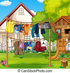 Front of house with clothes hanging on clotheslines