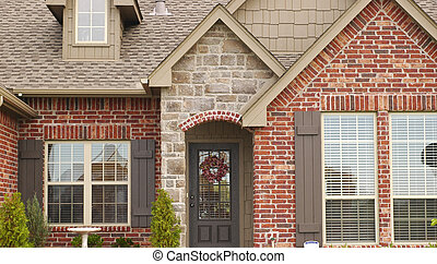 Front of Middle Class House - Front view of house with ...