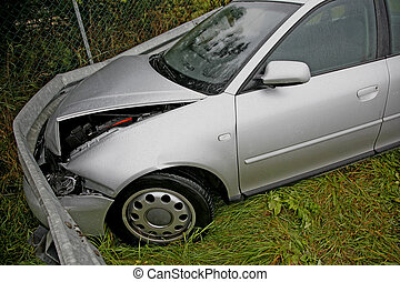 Drunken driving - Front of new car after a car crash....