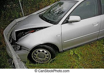 Front of new car after a car crash. Drunken driving?