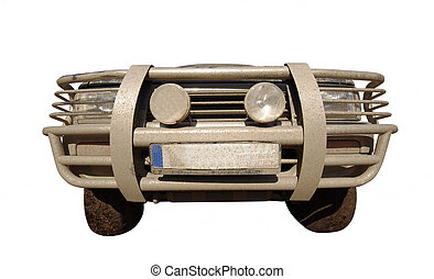 front of off road car or suv. wide view isolated