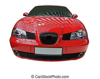 front of red car