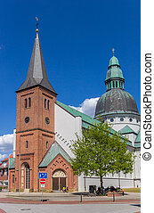 Front of the historic Dom church in Haren, Germany