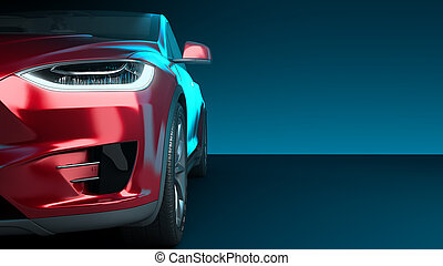 front of the red car front view 3d render in darck blue