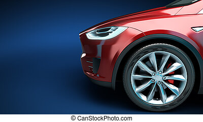 front of the red car side view 3d render on blue gradient