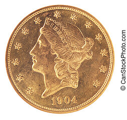 Front of US Liberty Twenty Dollar Gold Coin on White Background
