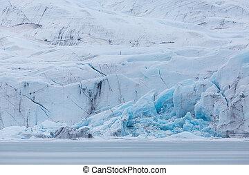 front of Vatnajokull glacier with crevasses