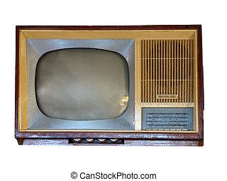 Front of vintage old television set over white