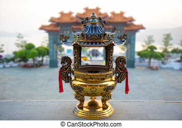 front of Wenwu temple at Sun Moon lake