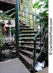 Front of winder stair in garden