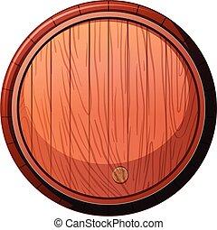 Front of Wine Oak Barrel on White Background